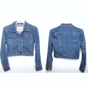 Rachel Roy Cropped Button Up Denim Jean Jacket XS